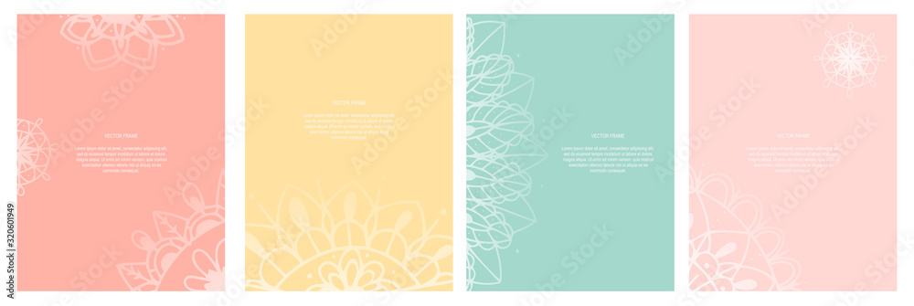 Collection of yoga cards. Abstract hand drawn mandala design with copy space. Vector templates for printing posters, advertising banners, yoga studio and spa.