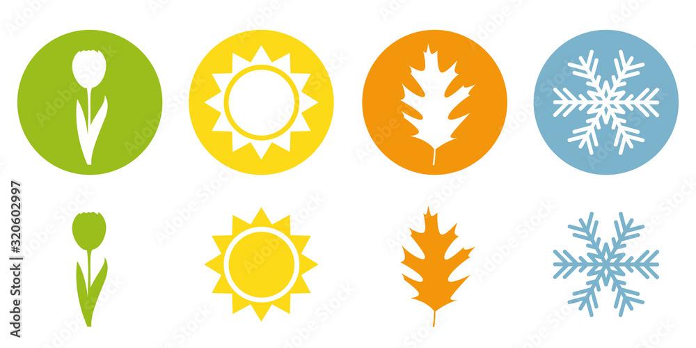 Fototapeta four season summer spring autumn winter symbol vector illustration EPS10