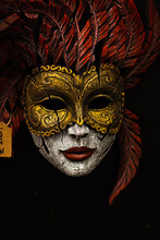 Carnival Mask Red And Gold On Black