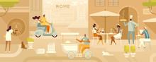 Travel Illustration. Tourists ...
