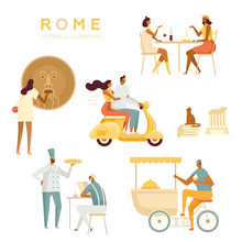 Set Of Tourists And Locals In Rome. Roman Holiday. Italians Relax, Have Fun. A Couple On A Scooter, Ice Cream Seller, Italian Restaurant, Mouth Of Truth. White Background, Isolated, Flat Style