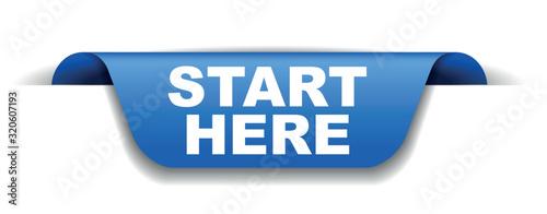 Fotomural blue vector banner start here