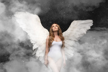 Angel Girl With White Hair On Black Background, Hands Folded In Prayer