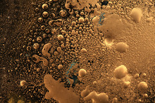 Macro Black And Gold Abstract Bubble Texture Background. Acrylic Color In Water And Oil.