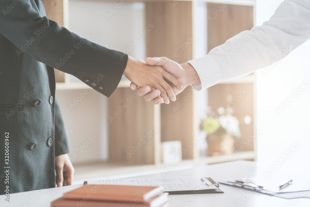 Fototapeta Candidate with resume at job interview with human resource, Recruitment concept.