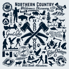 North Canada Discovery Outdoor Adventure Vector Clip Art Collection