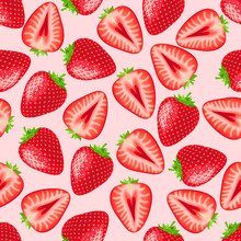 Red Strawberry Seamless Pattern. Texture For Fabric, Wrapping, Wallpaper. Decorative Print.