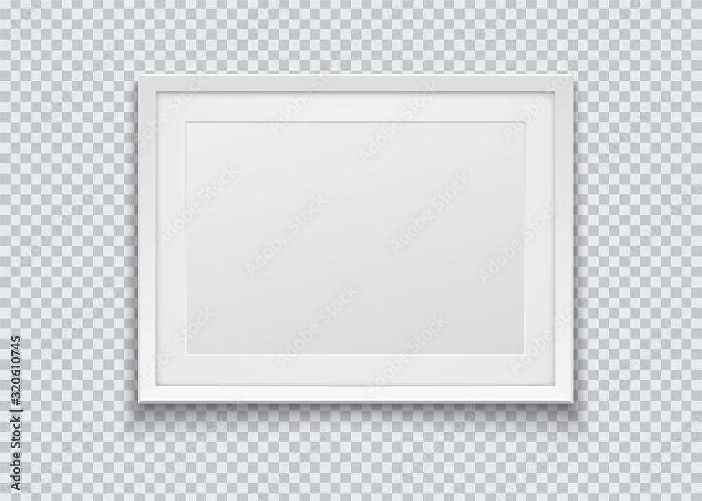 Fototapeta Realistic horizontal white photo frame isolated on transparent background. Vector illustration.