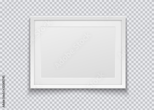 Obraz Realistic horizontal white photo frame isolated on transparent background. Vector illustration. - fototapety do salonu