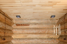 The Interior Of A Wooden Bathh...