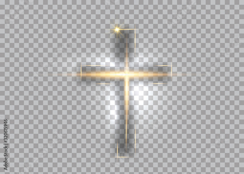 Cuadros en Lienzo cross of light, shiny Cross with golden frame symbol of christianity