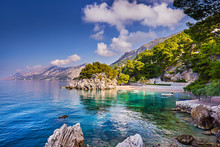 Brela Stone, Symbol Of Recreation Area In Dalmatia, Croatia, Makarska Riviera, Europe, Famous Tourist Destination On Adriatic Coast, Sunny Evening View. Beauty Of Nature Concept Background.