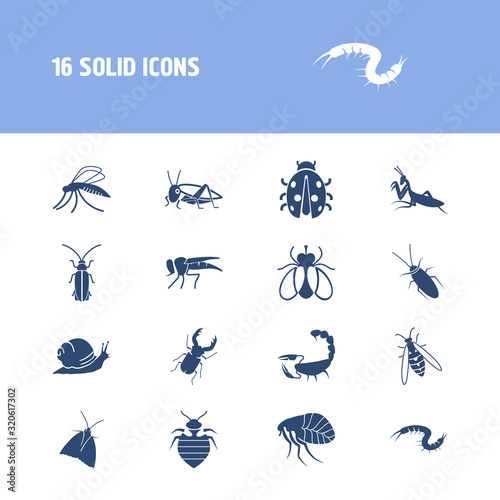 Photo Beetle icon set and snail with bedbug, mosquito and cat flea