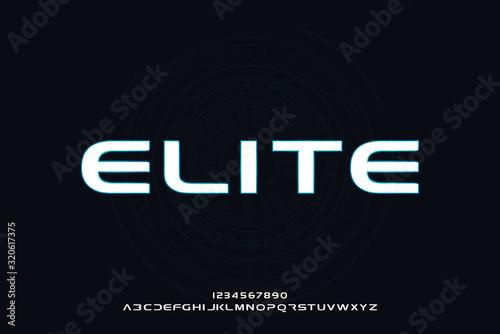 Fotografie, Obraz Elite, an abstract technology futuristic sporty alphabet font