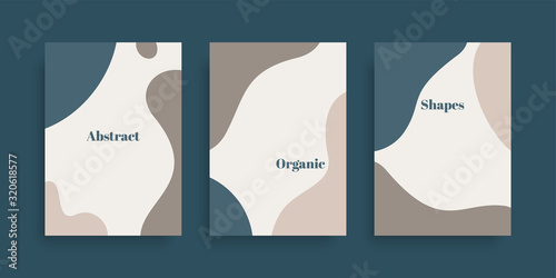 Fotografie, Obraz Vector set of minimal backgrounds with abstract organic shapes and sample text