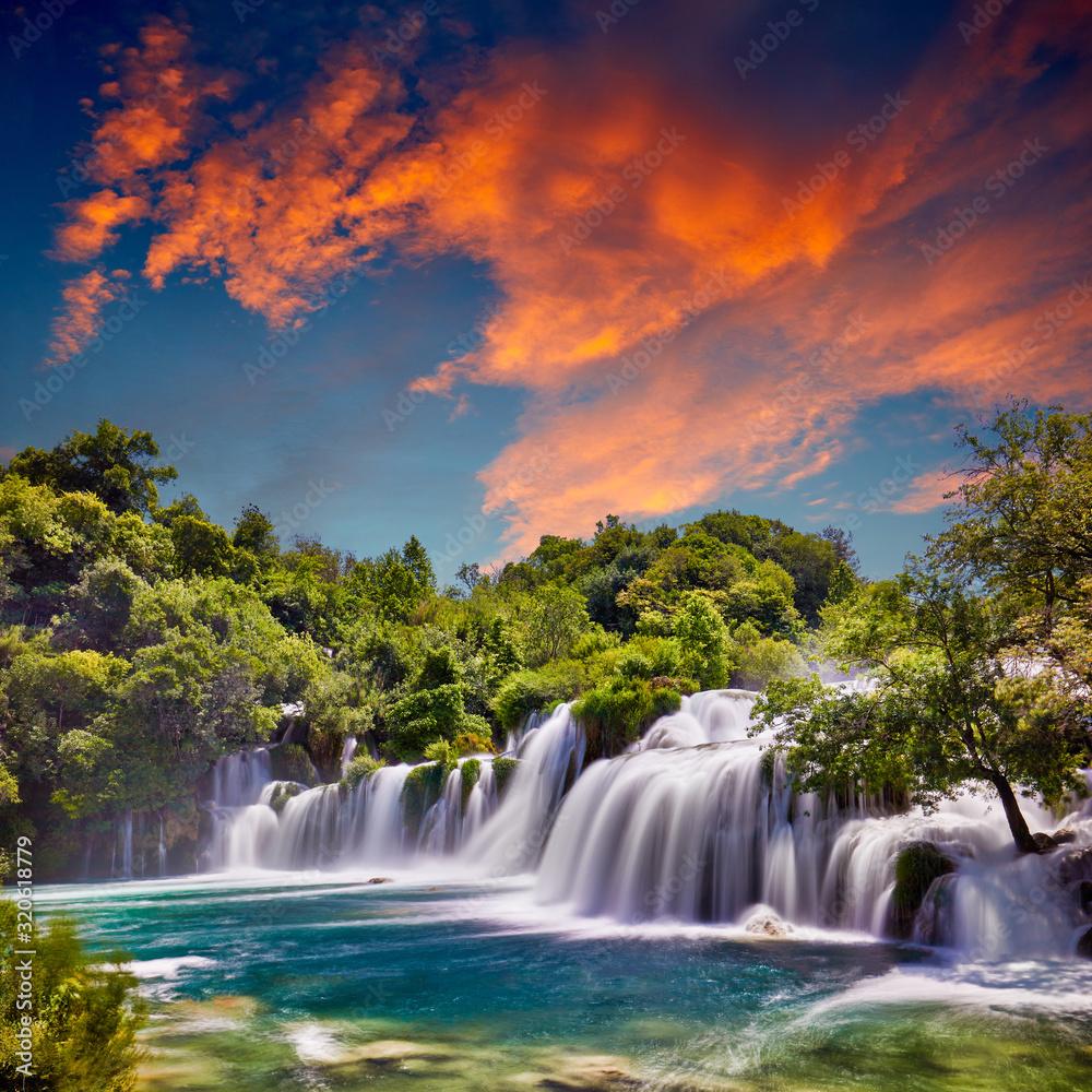 Fototapeta Beautiful Skradinski Buk Waterfall In Krka National Park - Dalmatia Croatia, Europe. Beautiful long exposure panorama of waterfalls (milk effect). A true natural wonder. Amaizing sunlight view.