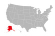 Alaska province highlighted on USA political map. Gray background. Business concepts.