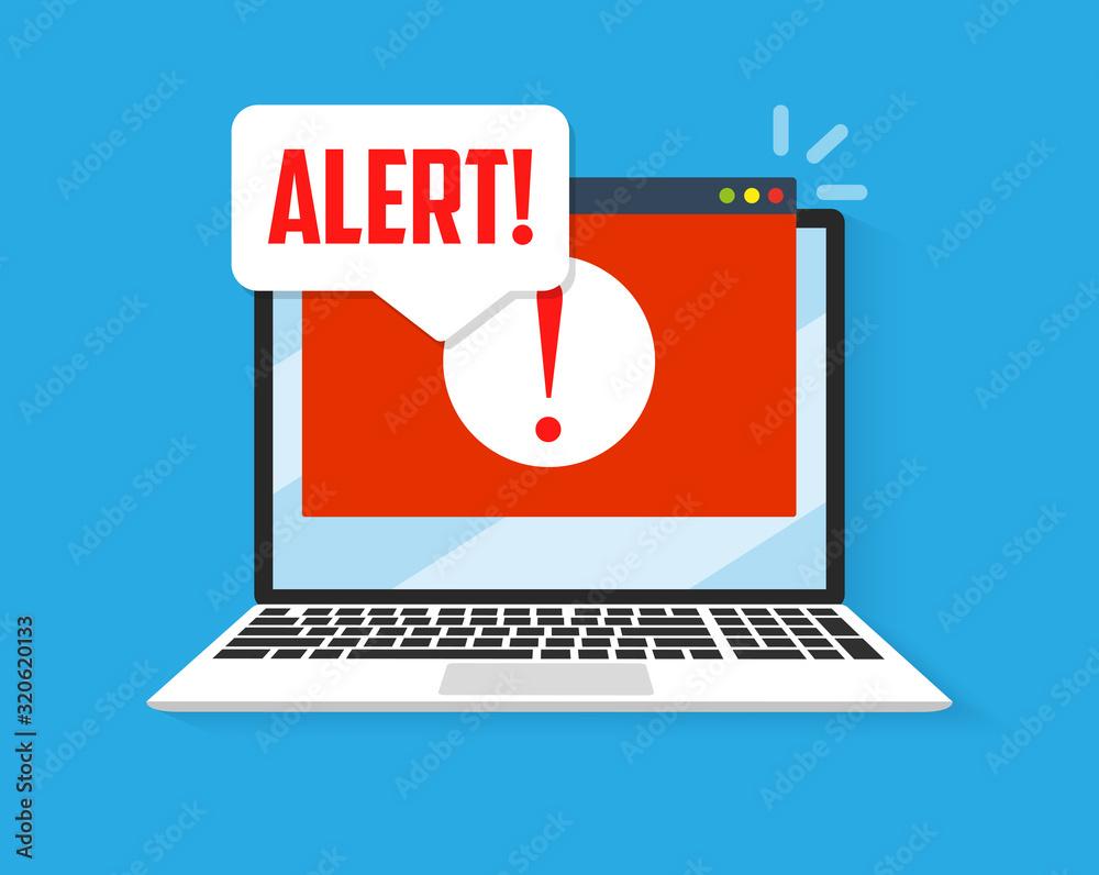 Fototapeta Spamming attack. Email fraud alert concept.