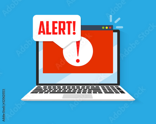 Foto Spamming attack. Email fraud alert concept.
