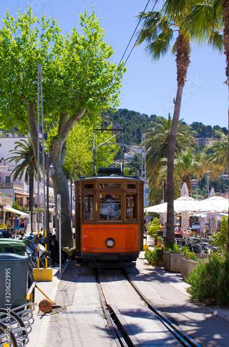 Famous tram of Puerto de Soller, Mallorca, Spain