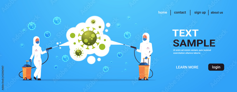 Fototapeta medical scientists in hazmat suits cleaning and disinfecting coronavirus cells epidemic MERS-CoV virus concept wuhan 2019-nCoV pandemic health risk full length horizontal copy space vector