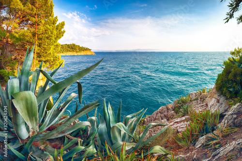 Cuadros en Lienzo Beautiful sunset above Adriatic sea and coastline in Makarska.