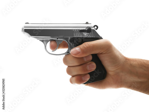 Fototapeta Professional killer with gun on white background, closeup obraz