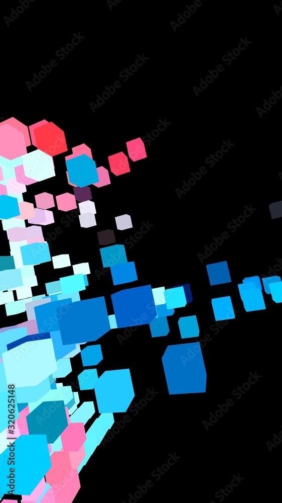 Fototapeta 3d rendering illustration of flying cube shapes on black background.