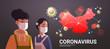 women wearing protective masks to prevent epidemic MERS-CoV virus concept wuhan coronavirus 2019-nCoV pandemic medical health risk chinese map background portrait horizontal vector illustration