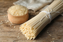 Raw Rice Noodles On Wooden Tab...