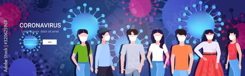 grupa ludzi w maskach ochronnych epidemia koronawirus MERS-CoV grypa rozprzestrzeniająca się pływająca grypa wuhan 2019-nCoV pandemia medyczne ryzyko zdrowotne komórki tło portret poziomy kopia przestrzeń wektor