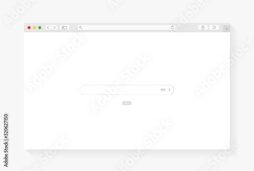 Fotografie, Tablou Modern browser window design isolated on white background