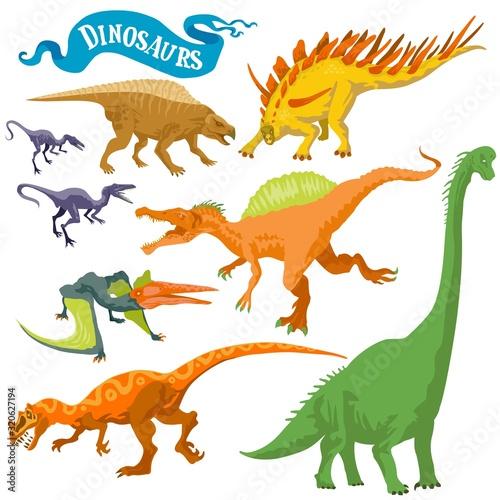 Photo Dinosaurs isolated on white back vector format land hand draw illustration set