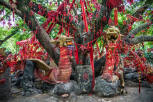 Tree And Prayers In Guilin, Guangxi, China