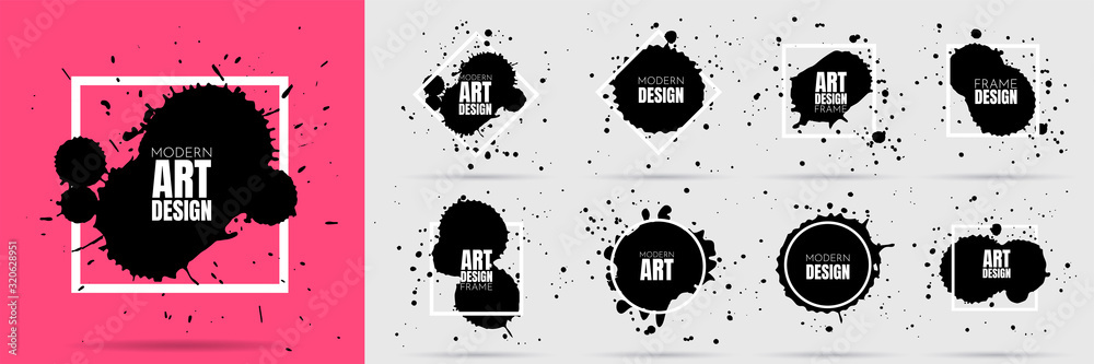 Fototapeta Vector illustration. Set of ink splatters, paint splashes. Dirty artistic geometric shapes, boxes, frames. Element for design invitations, gift card, flyer, social media, cover, poster, website.