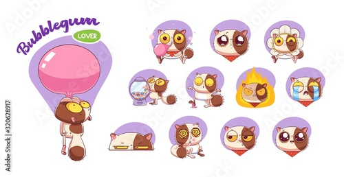 Funny Sweet-tooth cat stickers set. Illustrations for t-shirts, posters, sweatshirts and souvenirs