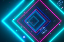 An Endless Tunnel Of Luminous Multicolored Neon Squares For Music Videos, Night Clubs, LED Screens, Projection Show, Video Mapping, Audiovisual Performance, Fashion Events. 3d Illustration