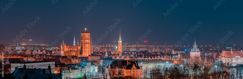 Fototapeta Night panorama of the city of Gdańsk