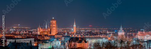 Night panorama of the city of Gdańsk - 320631923