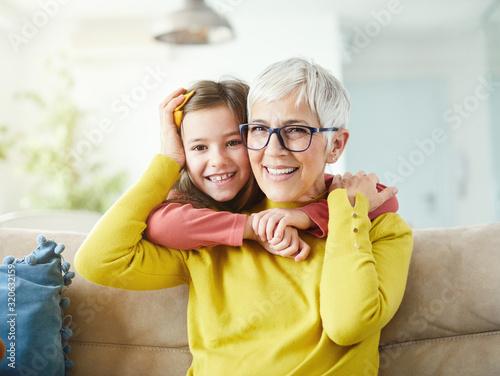 Fotografia, Obraz grandchild granddaughter grandma grandmother portrait  girl senior love family