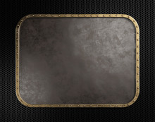 Empty Old Metal Plate With Brass Border. 3d Illustration