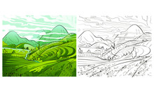 Rice Field Terraces In The Mountains Landscape, Vector Rice Or Tea Plantation On A Cascading Field On A Mountain In China, Vietnam Or The Philippines With Green Trees, Forest Trees, Illustration Of Th