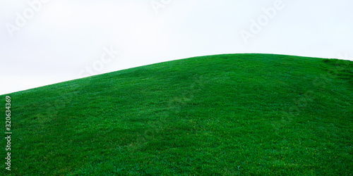 Obraz real green grass on hill on white cloud sky - fototapety do salonu