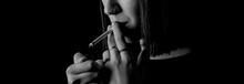 Smoker Woman Close-up Photo Bl...