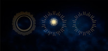 Occult Symbols Isolated On Dark Sky Background. Magic Vector Elements