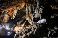 Yogyakarta, Indonesia, Sept18, 2014. The Beauty Of Stalagmite Ornament Of Gilap Cave In Gunungsewu Karst Area Which Is Conical Hills. Karst Area Is A Place For Water Conservation.