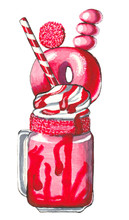 Hand Drawn Delicious Pink Milk...