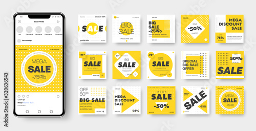 Vector banner template with yellow, black and white geometric patterns, square, circle, rhombus and cross for discounts and mega sales.