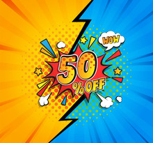 50 Percent Off Comic Speech Bu...