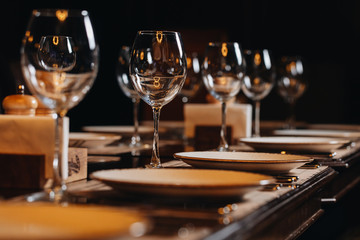 luxury tableware beautiful table setting in restaurant